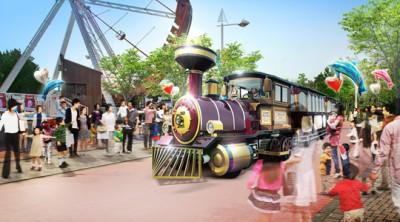 八景島シーパラダイスにある人気アトラクションの1つ園内を走る蒸気機関車の画像