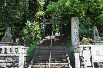 東京のお祭りの開催地のひとつ代々木八幡宮の参道入口の画像