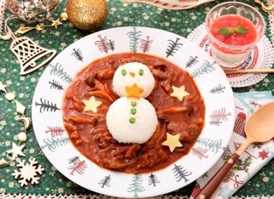 親子で参加の料理教室で学んだ雪だるまの料理の画像