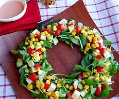 クリスマスのおもてなし料理にコブさんのリースサラダのレシピと画像