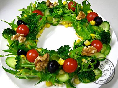クリスマスのおもてなし料理にリースサラダのレシピと画像