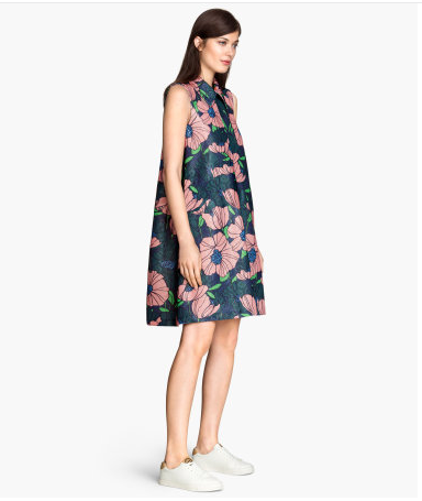 花柄、おしゃれママ、春、流行、H&Mのワンピの画像