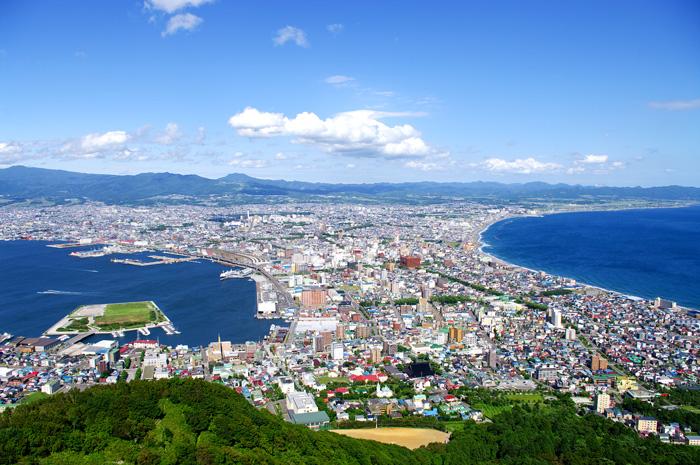 新幹線に乗って函館の函館山から見下ろす市街地の画像