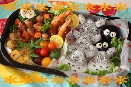 行楽お弁当キャラ弁作り方トトロの画像