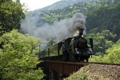 SL、大井川鉄道、陸橋のSLの画像