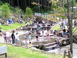 小田原わんぱく公園の渓流で遊ぶ子どもたちの画像