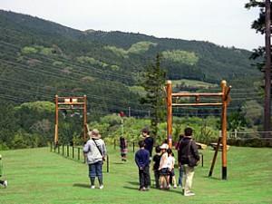 小田原わんぱく公園のターザンロープで遊ぶ子どもたちの画像