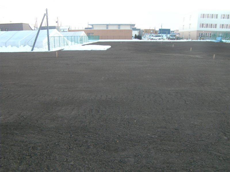 勇舞中学校屋外環境整備工事 グラウンド完成  工事概要:北海道千歳市勇舞 勇舞中学校 グラウンド造成 17,300㎡