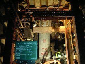 26.2工区左岸1号幹線下水道工事(その2) 推進管据付状況風景  工事概要:北海道千歳市末広 小口径泥水式推進工による下水管渠工 Φ700 L=209.81m マンホール工 2箇所