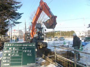 27.2工区左岸1号幹線下水道工事 土留建込風景  工事概要:北海道千歳市大和 下水管渠 Φ350 L=379.0m Φ300 L=4.0m Φ250 L=6.0m マンホール設置 計10箇所