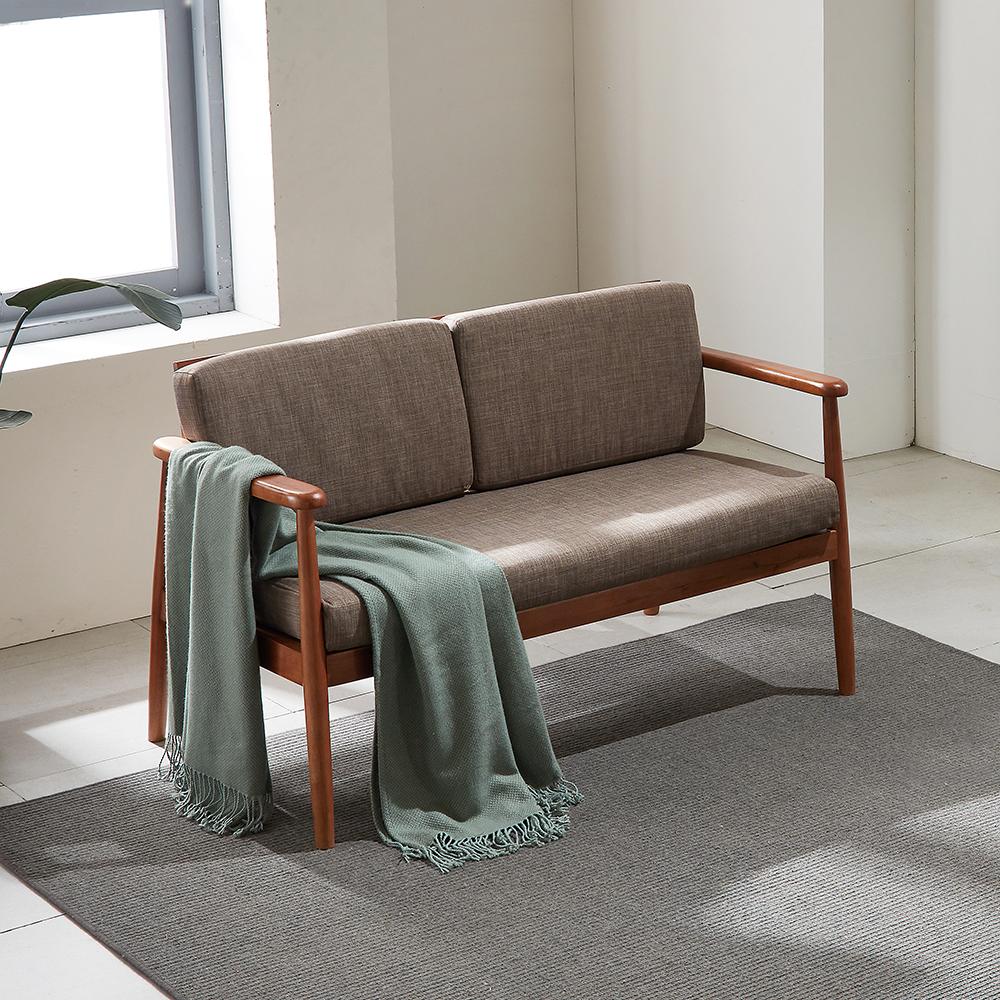 리치 원목 패브릭 2인용 소파 의자 (베이지)