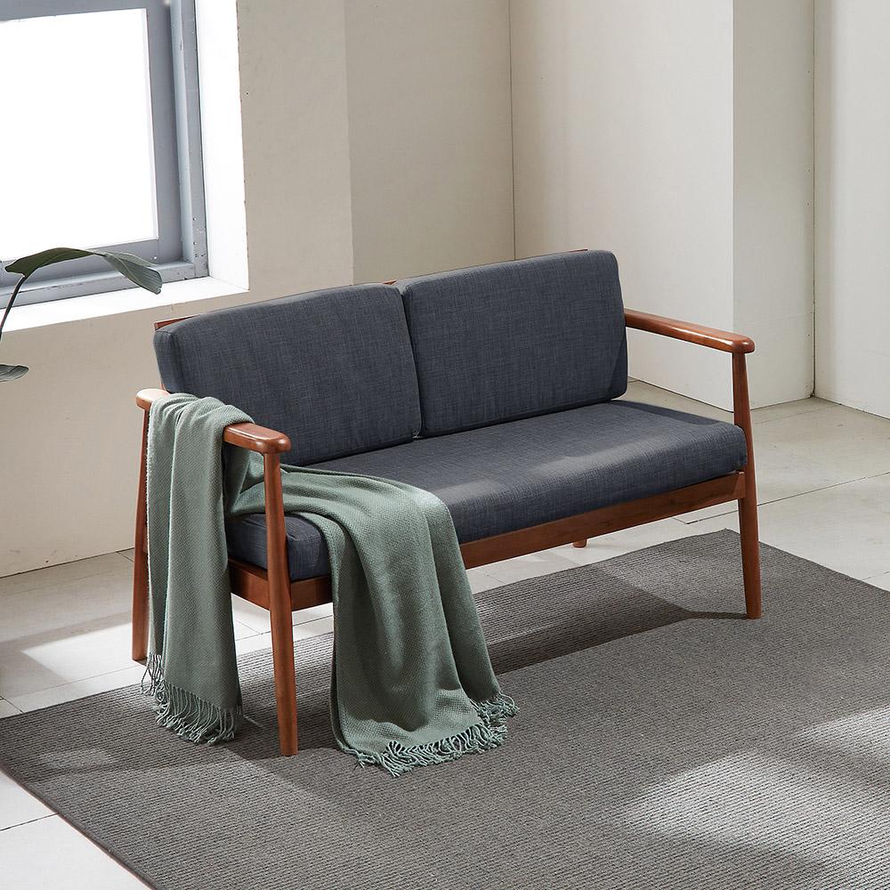 리치 원목 패브릭 2인용 소파 의자 (챠콜)