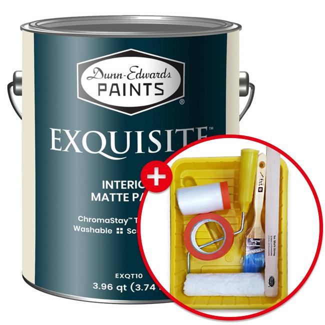 [더페인트샵] 오프너증정(세트상품) 던에드워드 익스퀴짓 1GA(약4리터) + 실속형도구세트7인치 고강도 오염방지 세라믹 무광 페인트수성페인트친환경페인트벽지천장벽면DIY셀프페인트