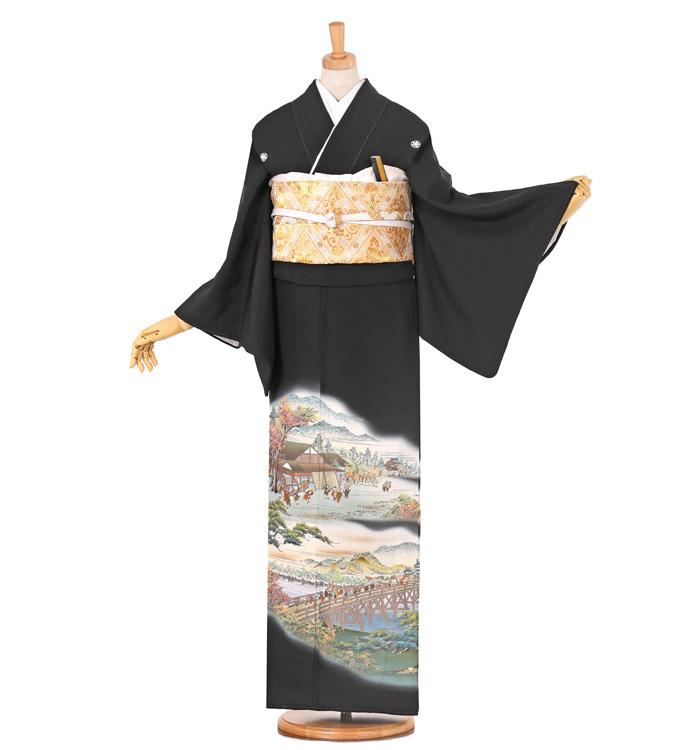 東海道五十三次 黒留袖 No.CA-0672-Sサイズ