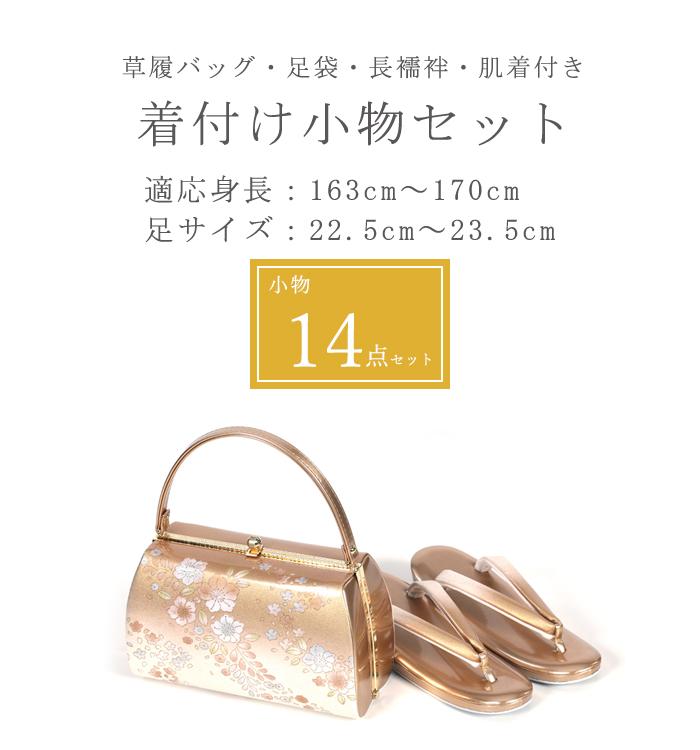 【5,000円以上お得!】足袋Mサイズ付き!着付け小物14点セット(草履バッグ付・Lサイズ長襦袢付) No.5ZA-0049