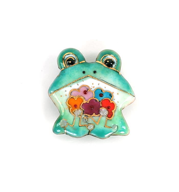 帯留 七宝焼き 蛙 No.5ZE-0123-00