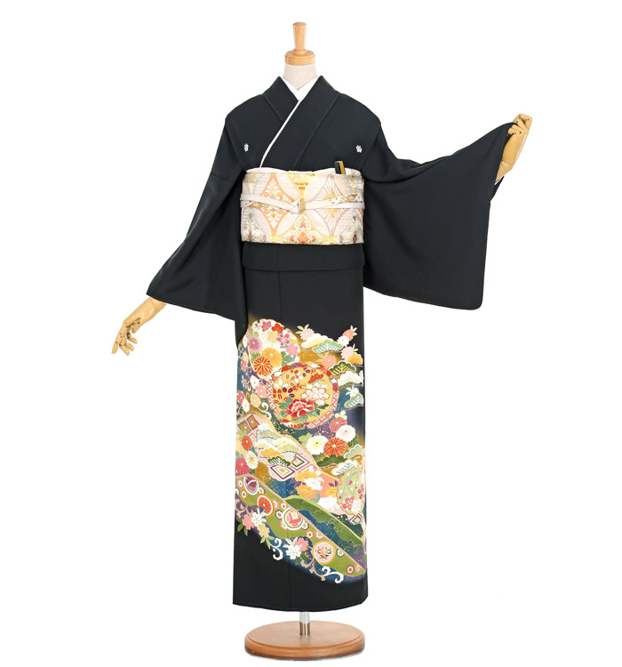 手描京友禅 大きいサイズ 黒留袖 No.CA-1139-LOサイズ