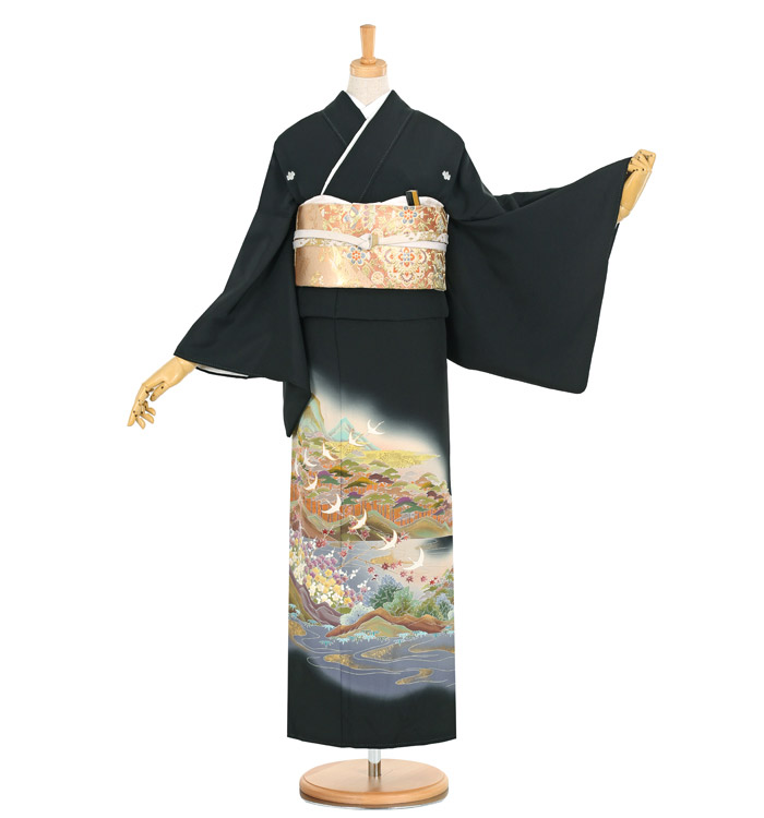 手描京友禅 大きいサイズ 黒留袖 No.CA-1140-MO