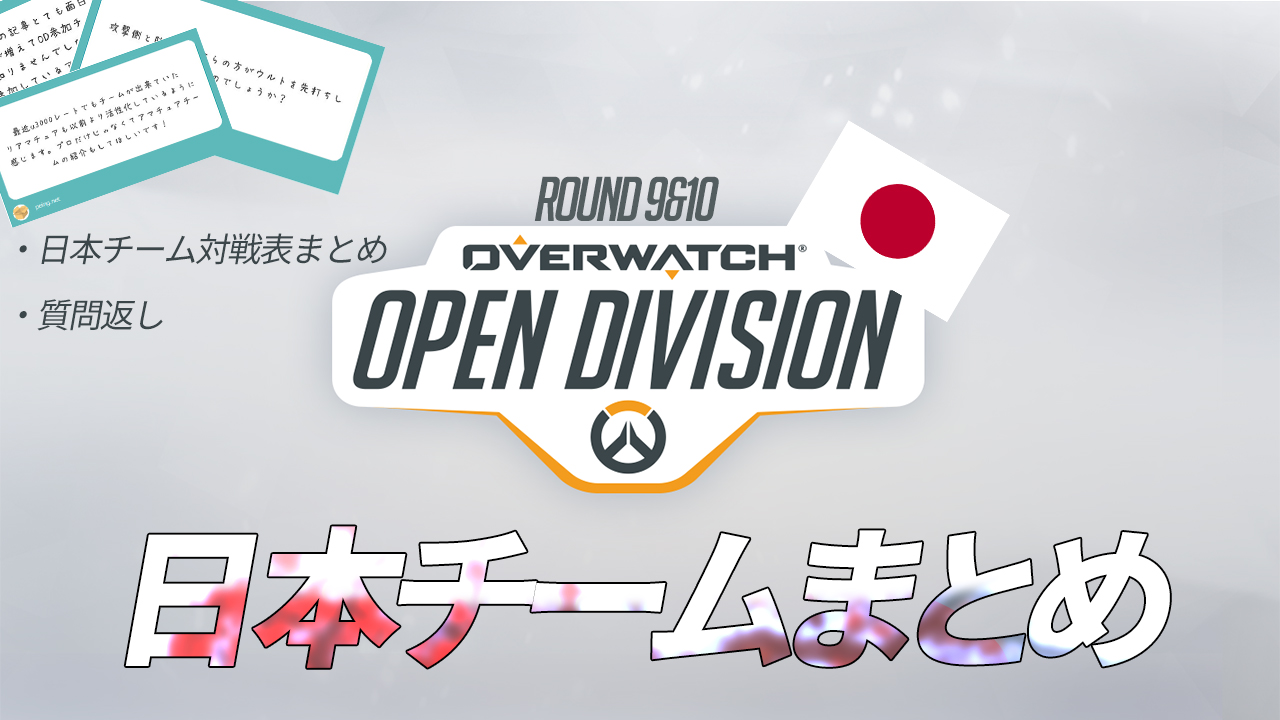 Open Dvision Day9 Day10 Japan team competition Table List