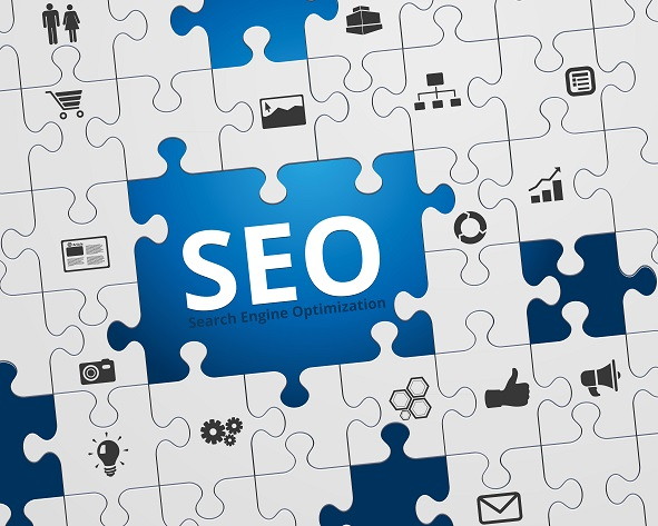 Search Engine Optimization - SEO - Jigsaw Puzzle and Icons