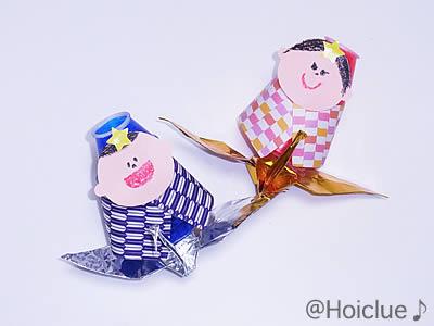 折り鶴たなばた人形〜笹飾りとたなばた人形の合体作☆〜