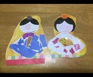 色紙をちぎって作ったお雛様3歳使ったもの色紙クレヨン