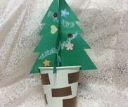 クリスマスツリー紙コップクレパス画用紙型抜き