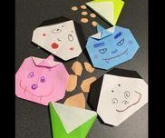 折り紙製作2、3歳児2歳の娘はハサミで丸の練習を兼ねて豆作り