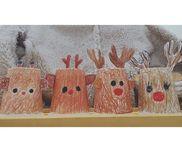 ◯ 紙コップのトナカイ ◯3歳児 紙コップ、白画用紙、クレヨン、ハサミ、セロハンテープ