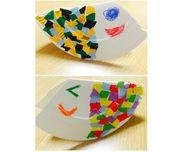 【ゆらゆらこいのぼりさん】・3歳児・こどもの日・紙皿、折り紙、のり、はさみ、クレパス