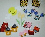 ☆1歳児☆9月の製作絵の具(タンポ)→ブドウ・モチお絵描き→キノコ・ススキ