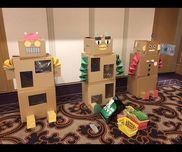 『ロボット玉入れ』6歳児ダンボール、色画用紙、新聞紙、柄アルミホイル