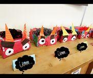 帽子型✯鬼のお面✯4歳児チラシで作ったゴミ箱、ちぎった画用紙、毛糸、ゴム