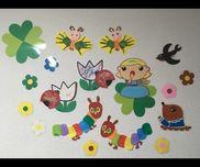 ☆3月の壁画☆・1歳児蝶々→手形・顔描きチューリップ→塗り絵てんとう虫→タンポアオムシ→糊