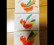 0歳児絵の具をスポンジにつけてポンポン羽はそれぞれが破いて遊んだ折り紙です