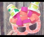 【鬼のお面】✳︎2歳児✳︎折り紙、色画用紙、厚紙、絵の具、毛糸✳︎子どもはタンポで色づけ、のりで角と髪に折り紙を貼る