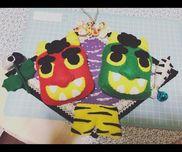 【節分の飾り】小さいクラスの子どもたちが節分を楽しめるようにかわいい飾りを作りました。中には怖がる子もいましたがこの作品を使って節分の由来を話したりして行事を楽しみました。