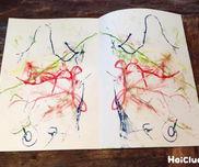【お絵描き技法】糸引き絵〜2つの材料で楽しむ、味ある模様作り〜