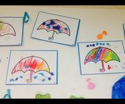 【こんな傘があったらいいな】*3歳児*梅雨*傘を好きなように塗る*お花紙を丸めてのりでいろんなところにくっつける