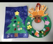 1歳7ヶ月の娘とお友だちと一緒にクリスマスクラフト♪【クリスマスリース】厚紙 画用紙 シール キラキラテープ のり リボン【クリスマスツリー】画用紙 シール クレヨン キラキラテープ のり タンポ