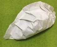 アマゾンの緩衝材として入っている紙でギョウザを。30cmくらいあります。中にはちぎってまるめた同素材が。息子にはのり付けを手伝ってもらいました。
