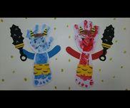 【節分】・0歳児・スタンプ台・折り紙・ペン