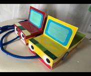 【引っ張る車】1歳児歩くことが楽しい子供たちに作りました!・ティッシュ箱・画用紙、折紙・太めのヒモ・クリアテープ