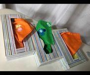 【くっつくハンカチ】・1歳児・布、ワッペン、針、刺繍糸、マジックテープ・ティッシュ箱、折紙、クリアテープ