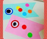 【こいのぼり製作】年少児・初めてのりを使う「のり指導」を含めて製作しました。・画用紙を丸く切ったものを与え、好きな色を好きなだけ両面に貼って作りました。