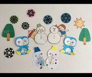 ☆1歳児・ペンギン→手足や顔を糊で貼る、表情をお絵描き・雪だるま→身体と顔とバケツを糊で貼る                  ボタンをシール貼り、表情をお絵描き・木→お絵描きで積雪を表現