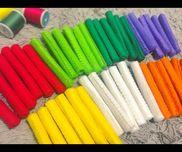 ✂︎フェルト棒乳児用おもちゃフェルトをくるくる巻いて糸でかがり縫いをして出来上がり!ままごとや見立て遊びに使えます(^^)