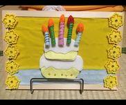 【お誕生日お祝いケーキ】・フェルト・コルクボード・マジックテープ