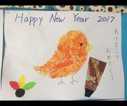 お正月 酉年 0、1歳児スポンジ 絵の具こちらのサイトを参考に製作。乳児さんでも楽しめました。