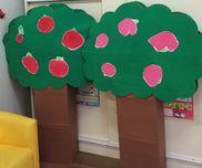 3歳児運動会 木の周りを大きな果物を運ぶリレー果物を子供に描いてもらう木は段ボールお茶とか入ってるの3箱草の部分は大きな段ボールを切るボンドで木に貼り草に穴あけて針金でくくる